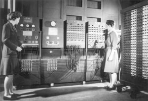Jean Bartik (left) and Frances Spence operating the ENIAC's main control panel. Bartik was present on the day of ENIAC's unveiling to the world, and even helped troubleshoot a switch issue the night before its unveiling, but her efforts, and those of ENIAC's five other women programmers, were nearly forgotten.