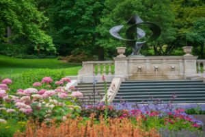 The Step Fountain at the Morris Arboretum, newly restored alongside a series of newly planted garden beds. (Image: Rachel Browne)